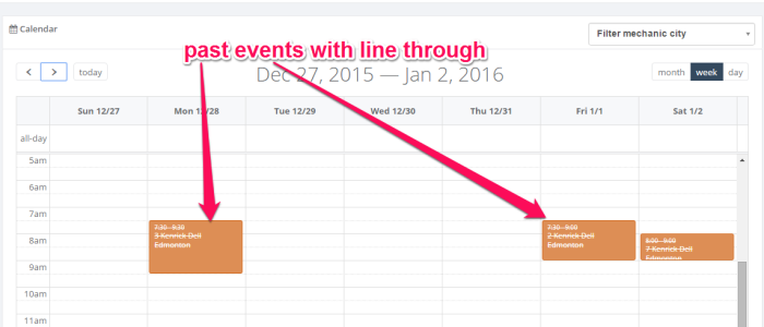 Add line through past events jquery full calendar | Learn Share Corner