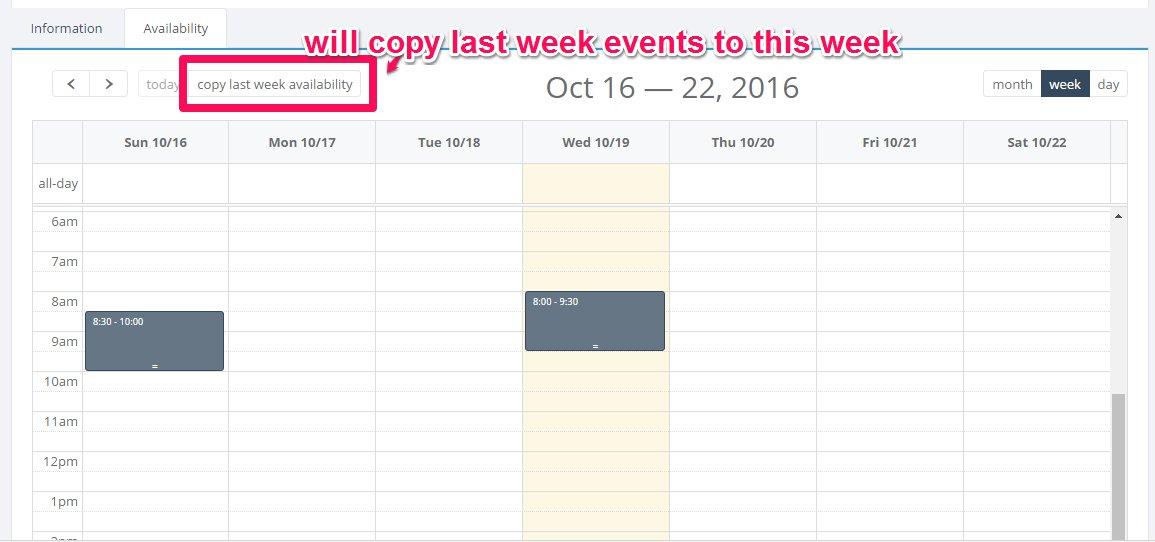 Jquery Fullcalendar Copy Last Week Events To Next Week Sample Code