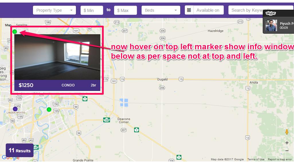 working] google map api v3 infowindow custom positioning